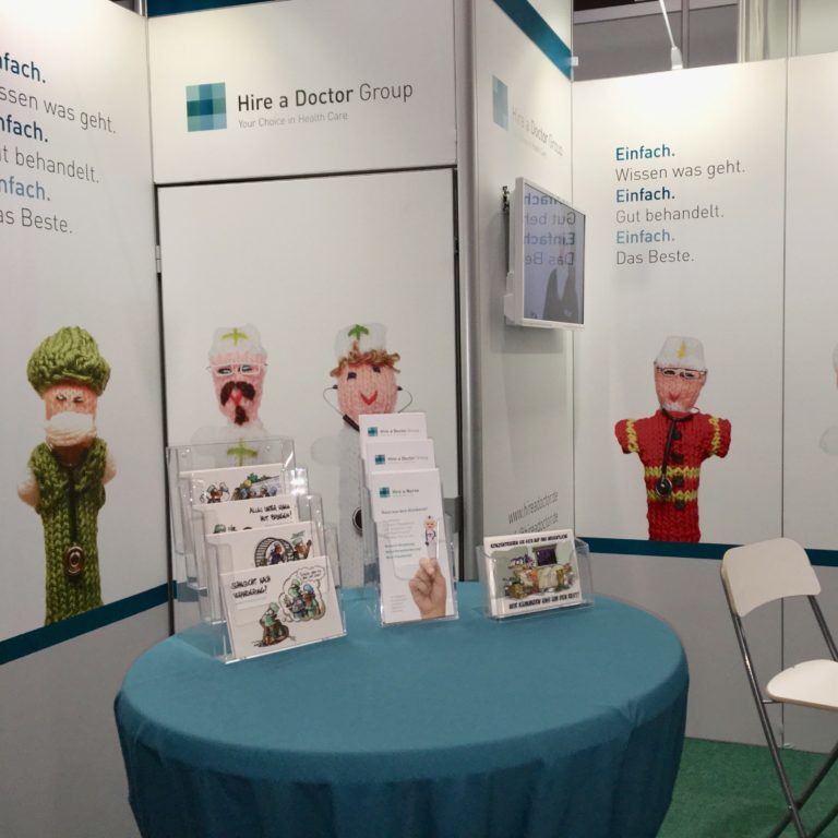 Expo Event und Messebau Kontraschall Berlin Messestand Aufbau Hire a Doctor Group